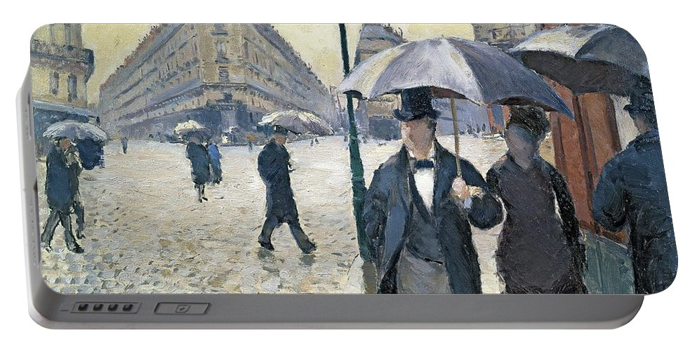 Sketch Portable Battery Charger featuring the painting Paris a Rainy Day by Gustave Caillebotte