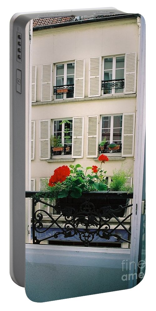 Window Portable Battery Charger featuring the photograph Paris Day Windowbox by Nadine Rippelmeyer