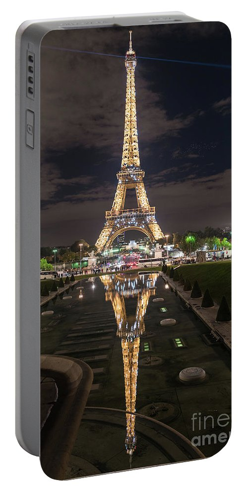 Paris Portable Battery Charger featuring the photograph Paris Eiffel Tower Dazzling At Night by Mike Reid