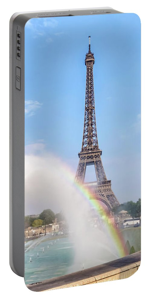Paris Portable Battery Charger featuring the photograph Paris Eiffel Tower With Rainbow by Melanie Viola