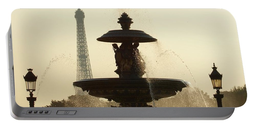Paris Portable Battery Charger featuring the photograph Paris Fountain In Sepia by Christine Jepsen