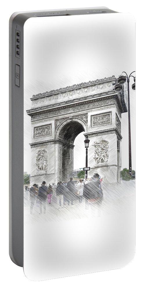 Paris Portable Battery Charger featuring the digital art Paris, France Triumphal Arch Illustration by Cranach Studio