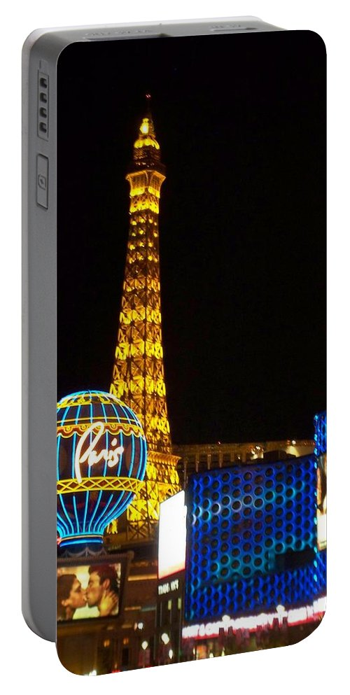 Vegas Portable Battery Charger featuring the photograph Paris Hotel At Night by Anita Burgermeister