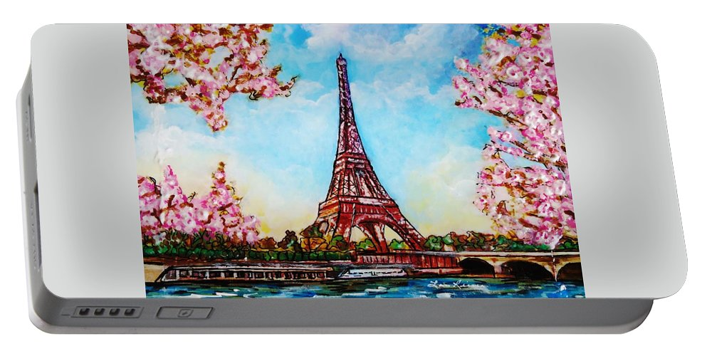 Flowers Portable Battery Charger featuring the painting Paris In Springtime by Lois Rivera