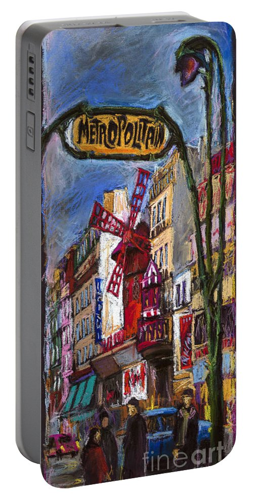 Cityscape Portable Battery Charger featuring the painting Paris Mulen Rouge by Yuriy Shevchuk