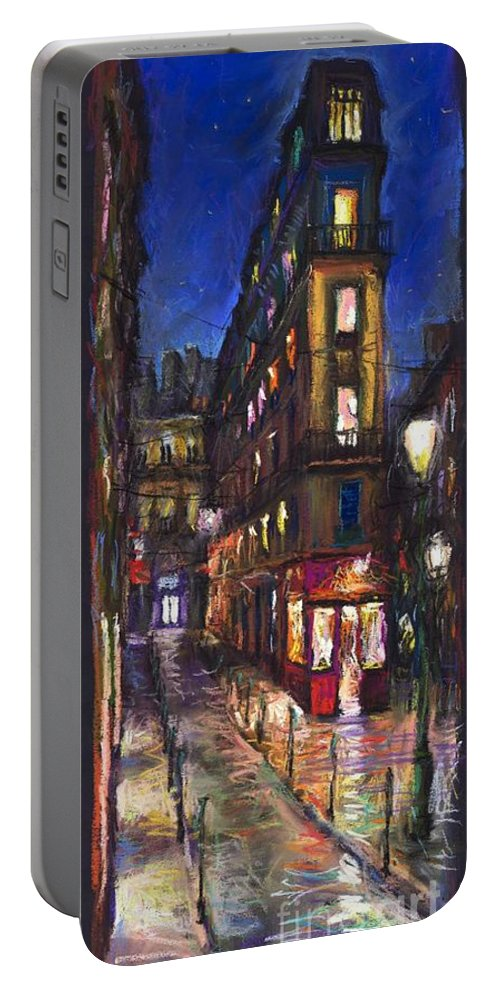 Landscape Portable Battery Charger featuring the painting Paris Old Street by Yuriy Shevchuk