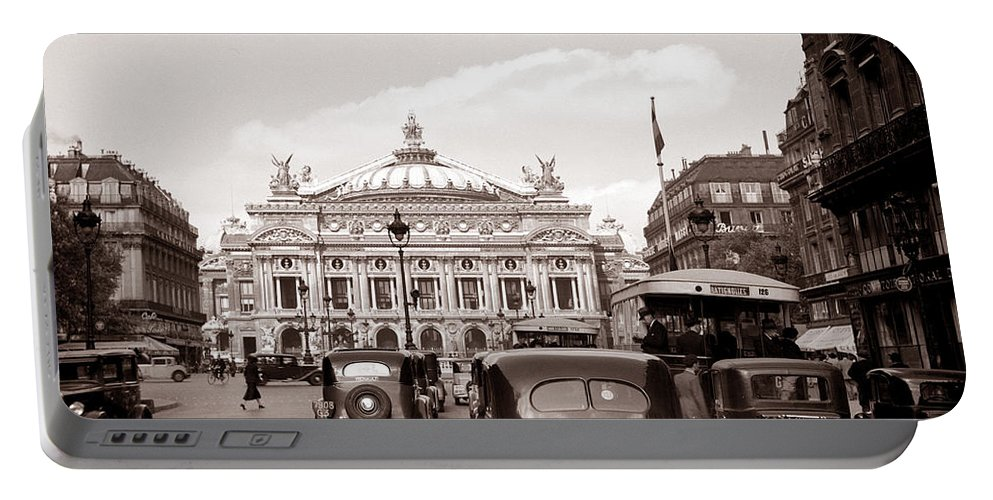 Paris Portable Battery Charger featuring the photograph Paris Opera 1935 Sepia by Andrew Fare