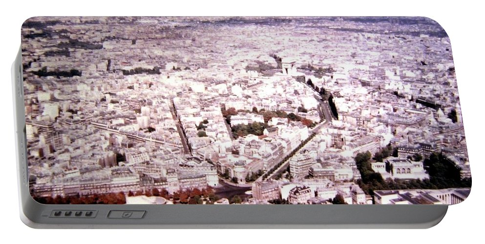 1955 Portable Battery Charger featuring the photograph Paris Panorama 1955 by Will Borden