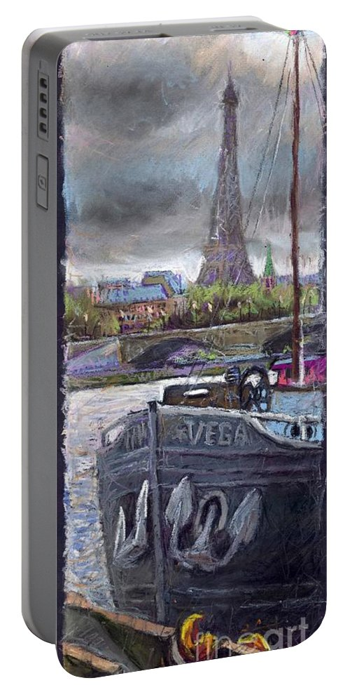Pastel Portable Battery Charger featuring the painting Paris Pont Alexandre IIi by Yuriy Shevchuk
