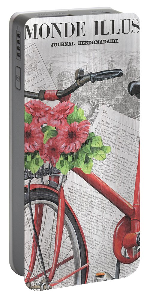 France Portable Battery Charger featuring the painting Paris Ride 2 by Debbie DeWitt