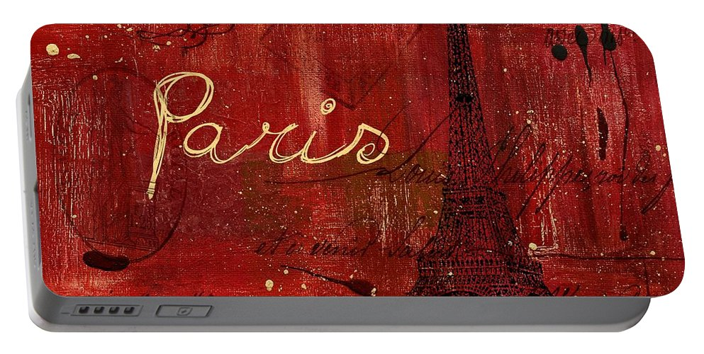 Paris Portable Battery Charger featuring the painting Paris - V01ct1at2cc by Variance Collections