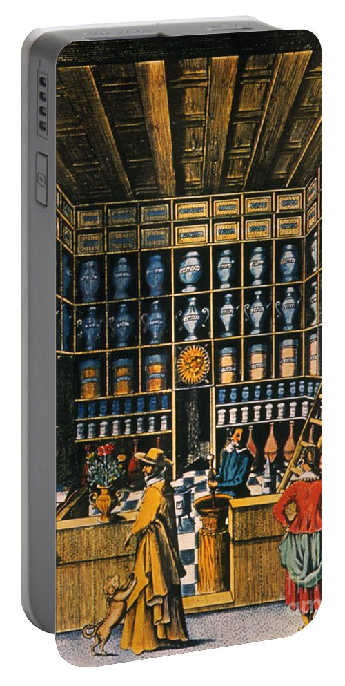 1624 Portable Battery Charger featuring the photograph Parisian Pharmacy, 1624 by Granger