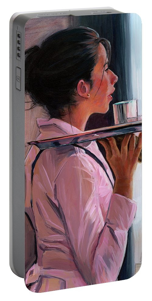 Waitress Portable Battery Charger featuring the painting Parisian Waitress by Lesley Spanos