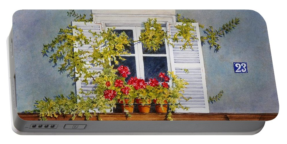 France Portable Battery Charger featuring the painting Parisian Window by Mary Ellen Mueller Legault