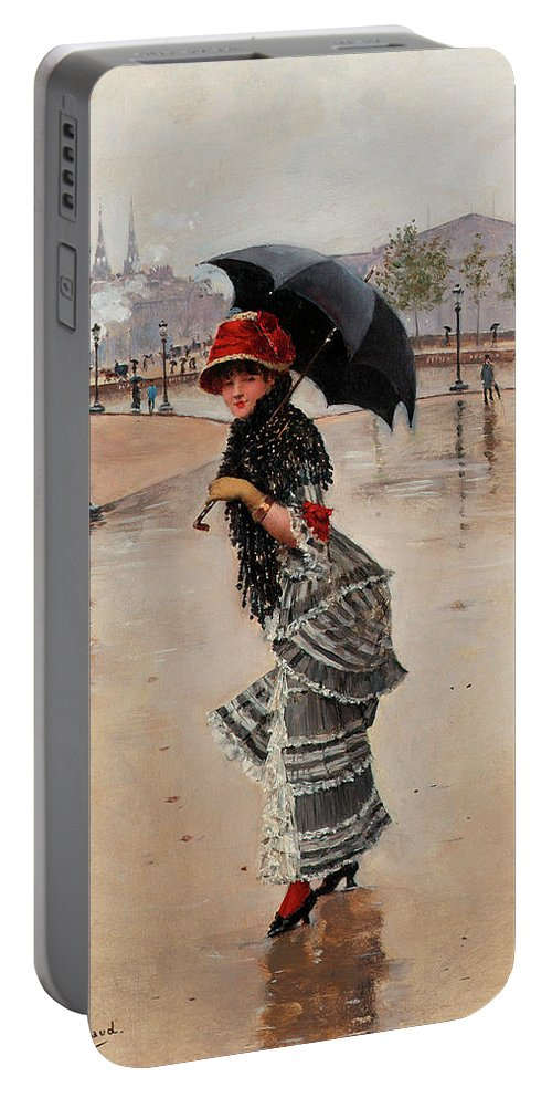 Painting Portable Battery Charger featuring the painting Parisienne On A Rainy Day by Jean Beraud