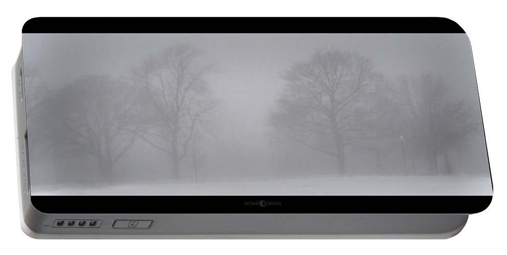 Fog Portable Battery Charger featuring the photograph Park In Winter Fog by Tim Nyberg