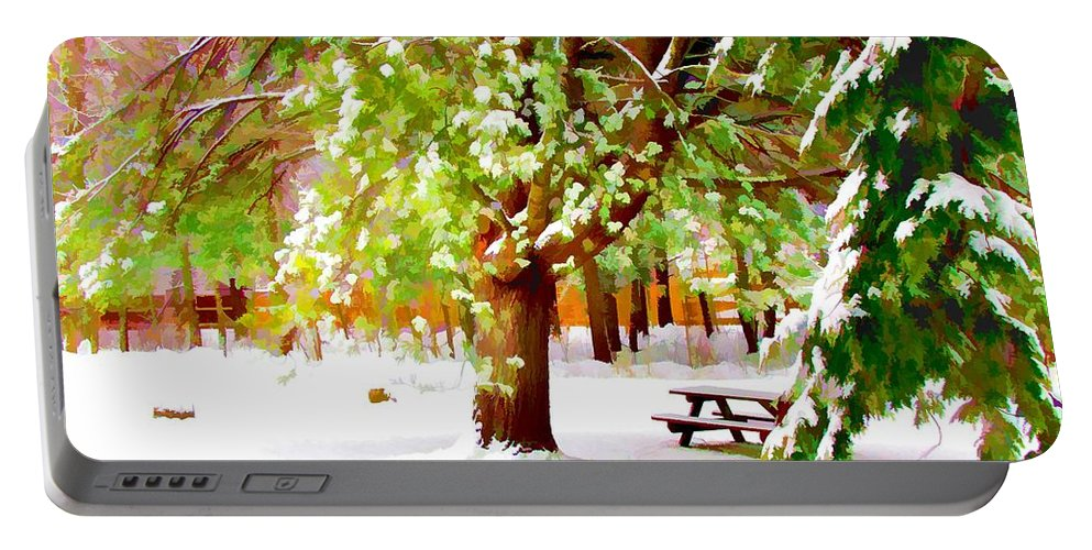 Background Portable Battery Charger featuring the painting Park In Winter by Jeelan Clark