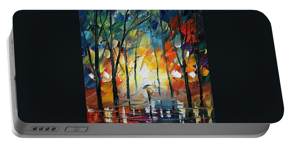 Afremov Portable Battery Charger featuring the painting Park by Leonid Afremov