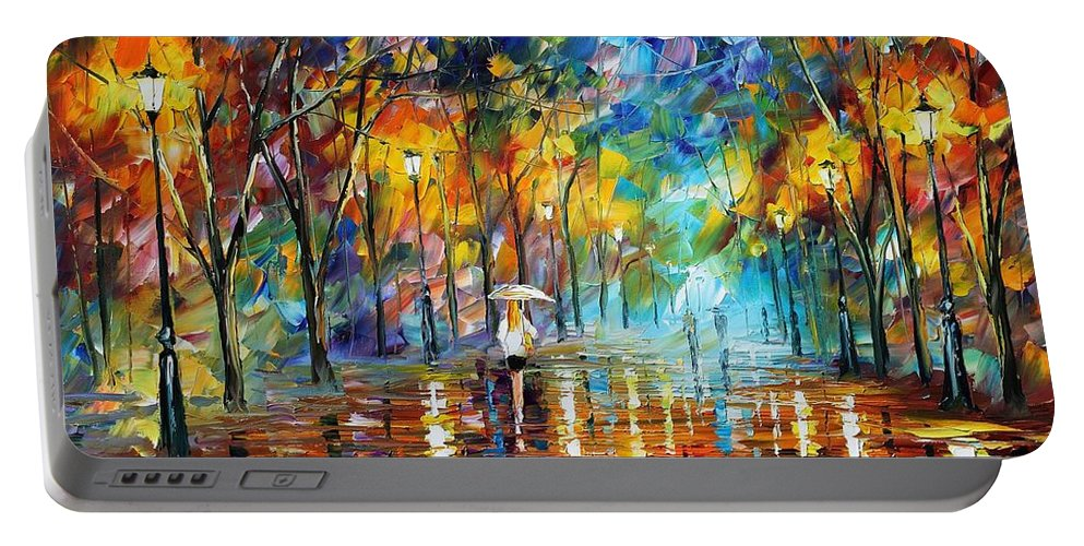 Afremov Portable Battery Charger featuring the painting Park Of Pleasure by Leonid Afremov