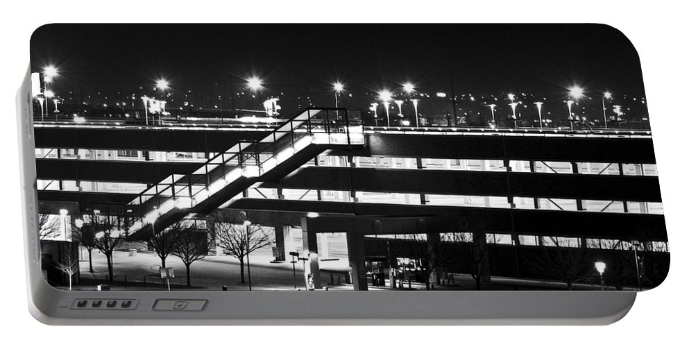 Stairs Portable Battery Charger featuring the photograph Parking Garage At Night by Angus Hooper Iii