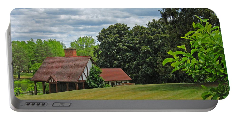 Landscape Portable Battery Charger featuring the photograph Parkland Cottage by Ann Horn