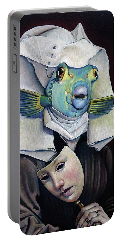 Fish Portable Battery Charger featuring the painting Parrishfish by Patrick Anthony Pierson