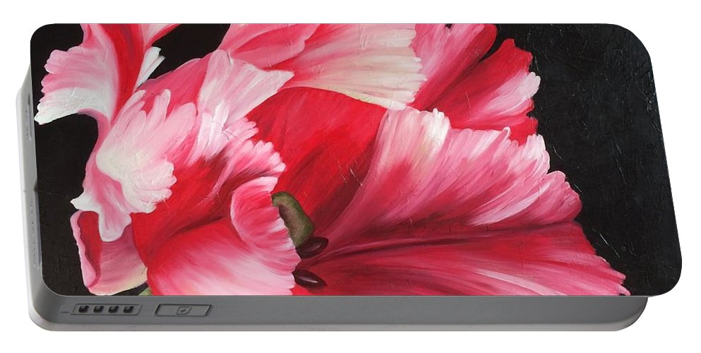 Parrot Tulip Flower Floral Garden Pretty Pink Portable Battery Charger featuring the painting Parrot Fashion by Kaye Lake