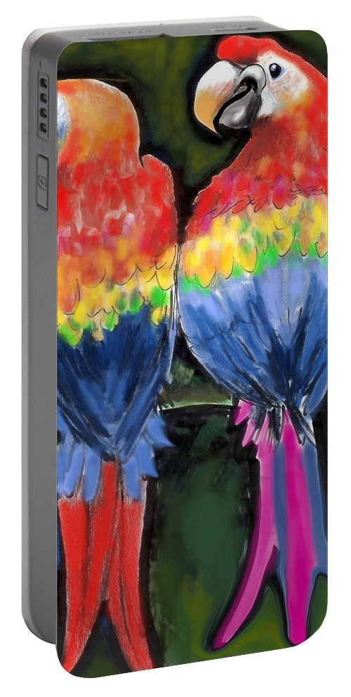 Parrot Portable Battery Charger featuring the painting Parrots by Kevin Middleton