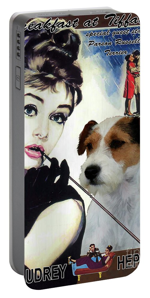 Parson Russell Terrier Portable Battery Charger featuring the painting Parson Russell Terrier Art Canvas Print - Breakfast At Tiffany Movie Poster by Sandra Sij