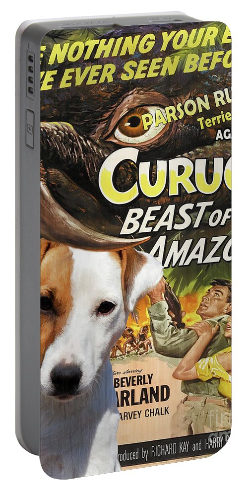 Parson Russell Terrier Portable Battery Charger featuring the painting Parson Russell Terrier Art Canvas Print - Curucu Movie Poster by Sandra Sij