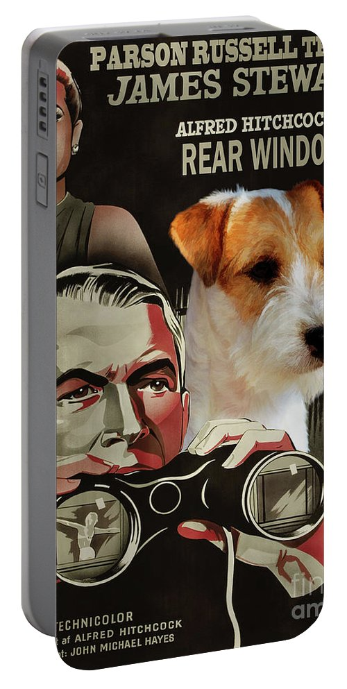Parson Russell Terrier Portable Battery Charger featuring the painting Parson Russell Terrier Art Canvas Print - Rear Window Movie Poster by Sandra Sij