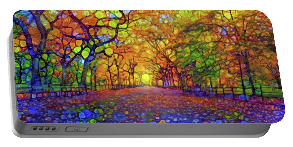 Park Portable Battery Charger featuring the mixed media Park In Autumn by Lilia D