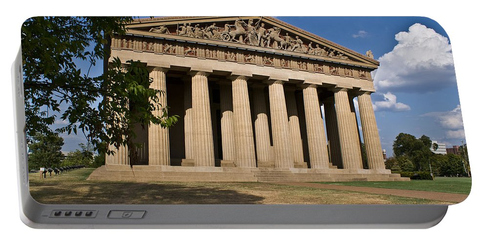 Parthenon Portable Battery Charger featuring the photograph Parthenon Nashville Tennessee From The Shade by Douglas Barnett