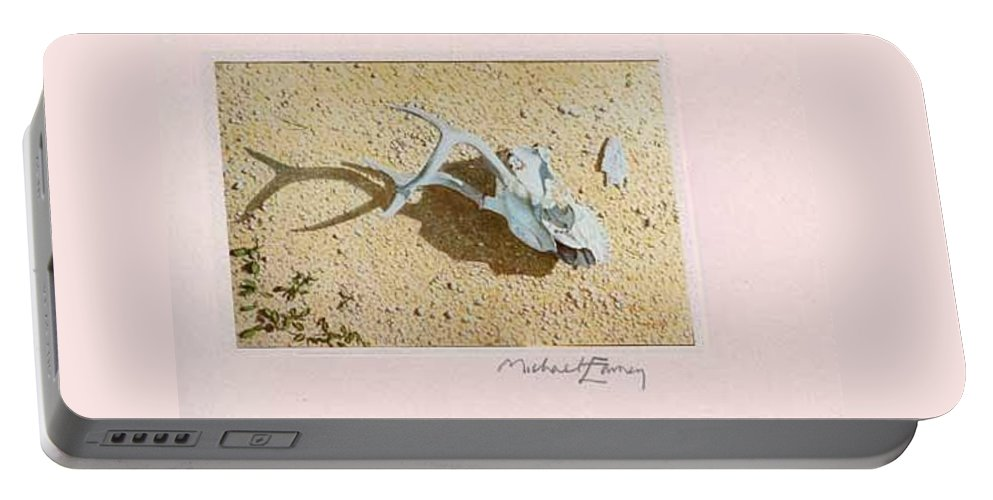 Hyperrealism Portable Battery Charger featuring the painting Partially Buried Frog Fruit by Michael Earney