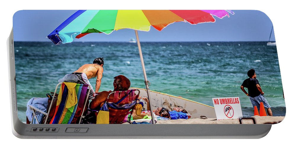 Beach Portable Battery Charger featuring the photograph Partisan by Yvette Wilson