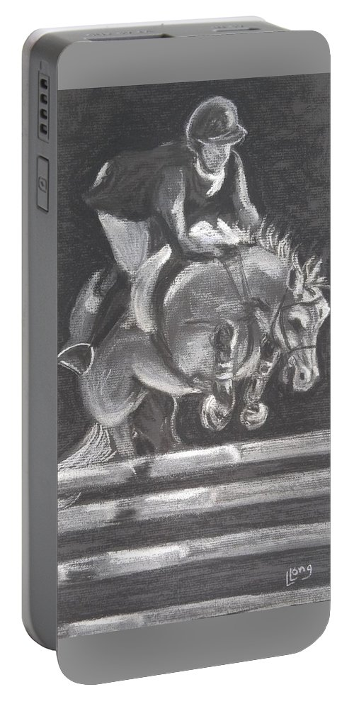 Horse Portable Battery Charger featuring the drawing Partnership by Lillian Coury