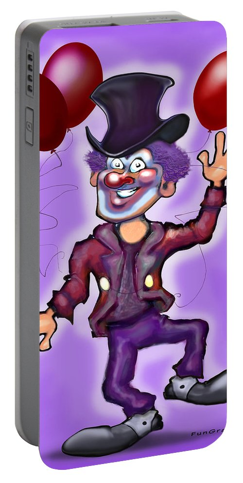 Clown Portable Battery Charger featuring the greeting card Party Clown by Kevin Middleton