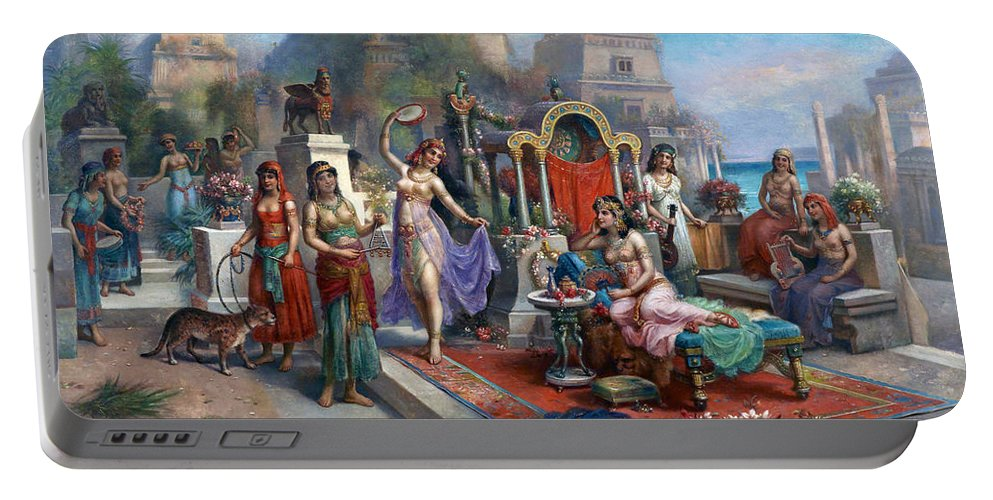 Oriental Portable Battery Charger featuring the painting Party by Munir Alawi