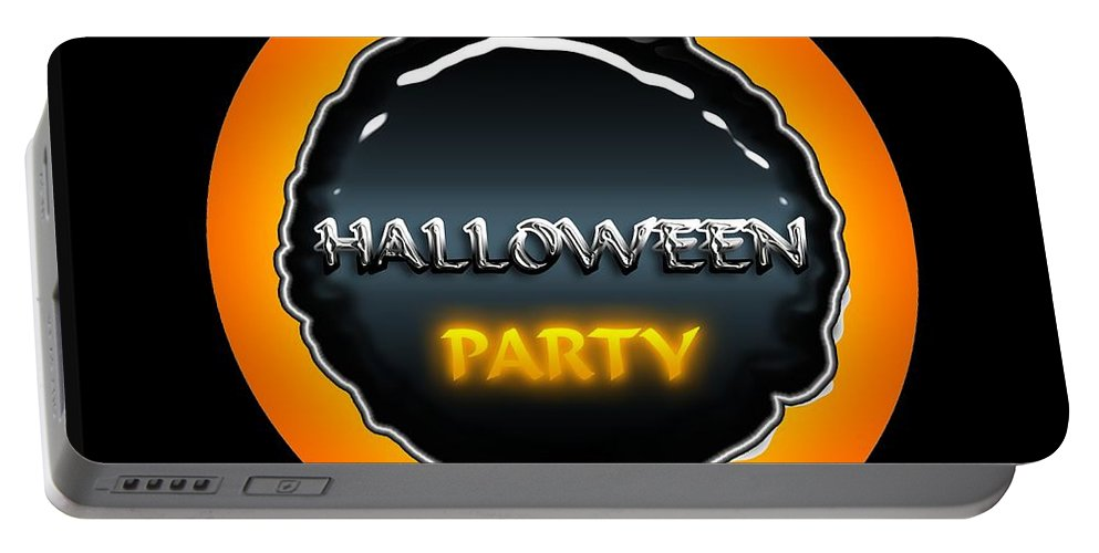 Halloween Portable Battery Charger featuring the digital art Party by Robert Orinski