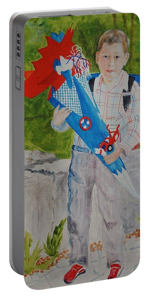 School Portable Battery Charger featuring the painting Pascals First Day At School 2004 by Helmut Rottler