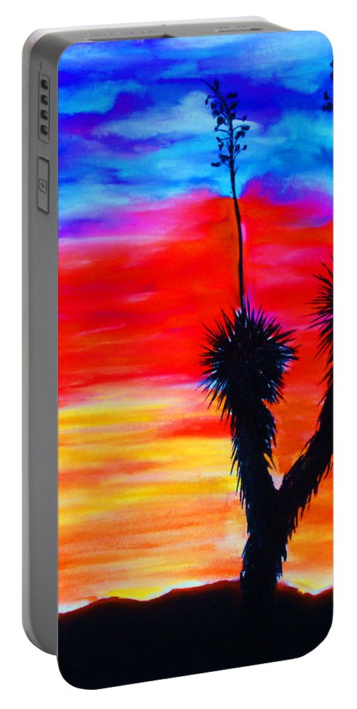 Sunset Portable Battery Charger featuring the painting Paso Del Norte Sunset 1 by Melinda Etzold