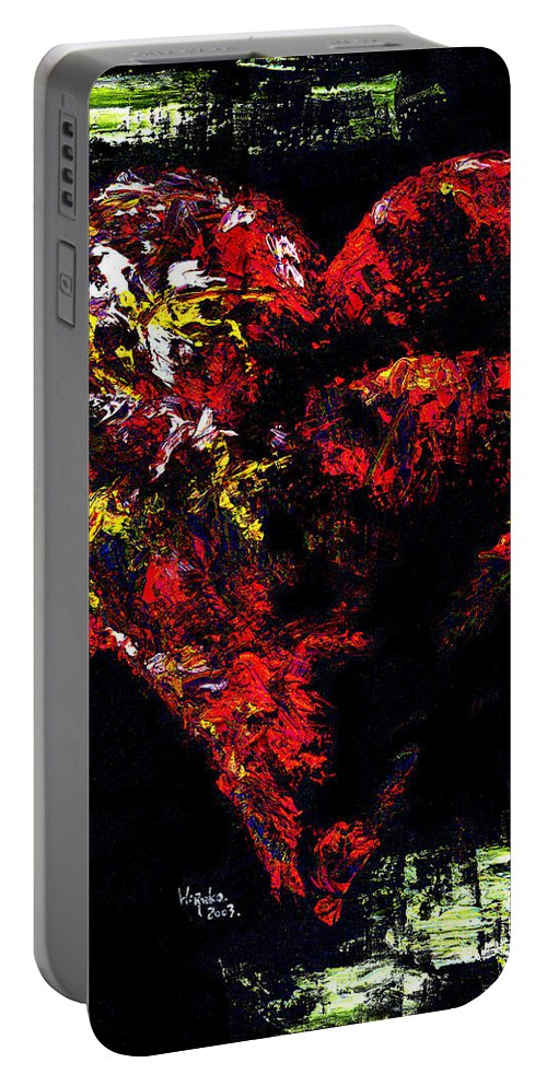 Heart Portable Battery Charger featuring the painting Passion by Hiroko Sakai