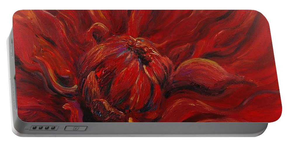 Red Portable Battery Charger featuring the painting Passion II by Nadine Rippelmeyer