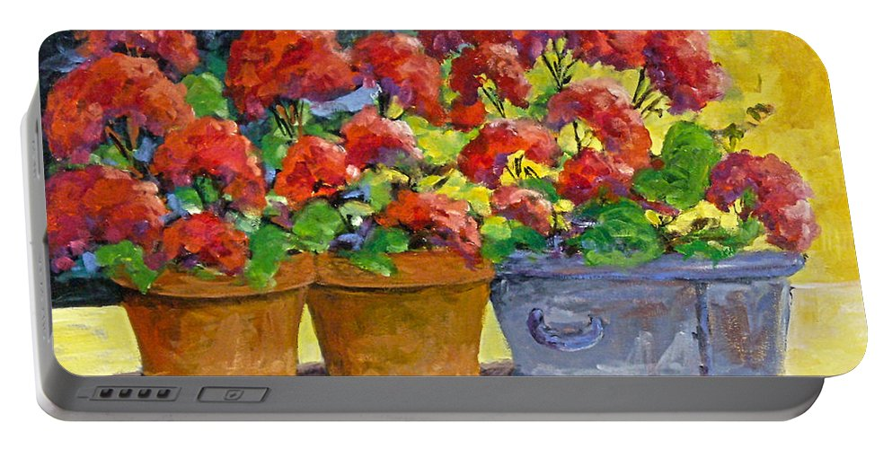 Still Life; Geraniums; Flowers; Terra Cotta; Red; Blue; Yellow; Green; Pranke; Portable Battery Charger featuring the painting Passion In Red by Richard T Pranke