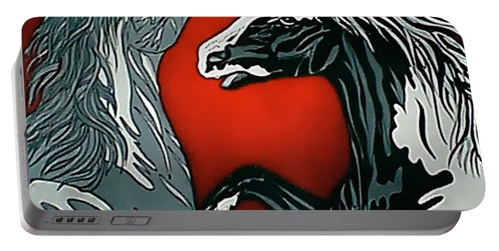 Horses Portable Battery Charger featuring the painting Passion by Larry Rice