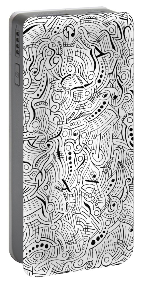 Abstract Portable Battery Charger featuring the drawing Passion by Steven Natanson