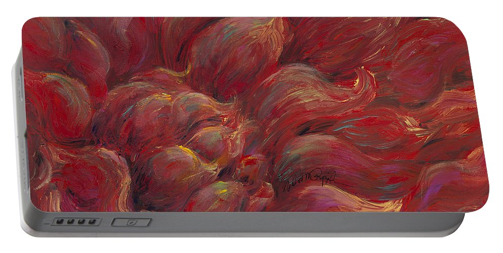 Red Portable Battery Charger featuring the painting Passion V by Nadine Rippelmeyer