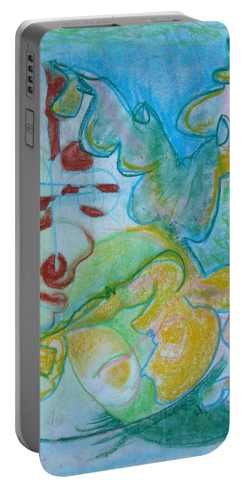 Portable Battery Charger featuring the pastel Pastel 18 by Bernardine Jones
