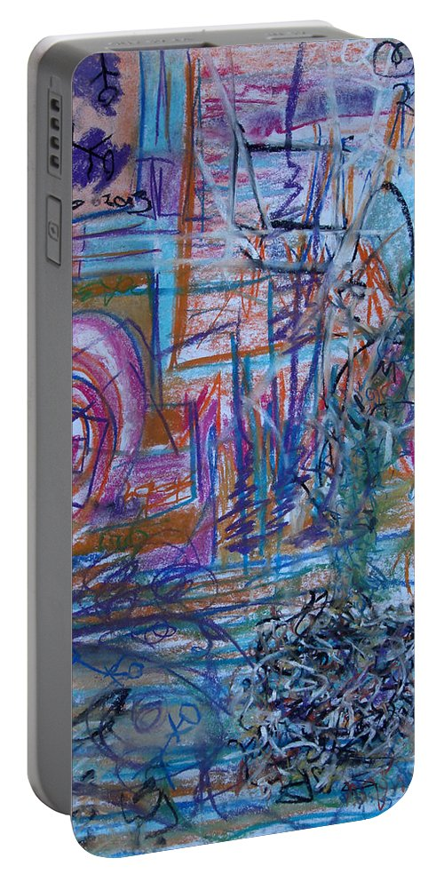 Portable Battery Charger featuring the pastel Pastel 21 by Bernardine Jones
