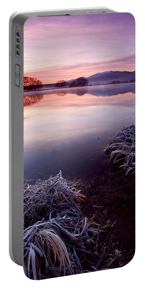 Lake Portable Battery Charger featuring the photograph Pastel Dawn by Mike Dawson